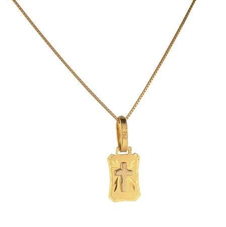 Pingente placa com cruz em ouro amarlo 18k PC 0.87