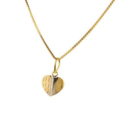 Pingente coração tricolor ouro amarelo 18k PC 0.74