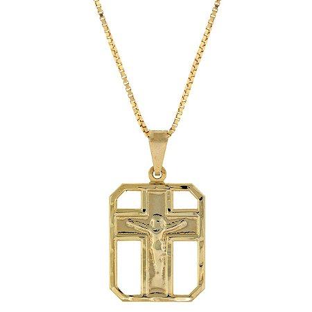 Colar Pingente de Crucifixo com Cristo Quadrado Vazado folheado a ouro 18K Blivejoias