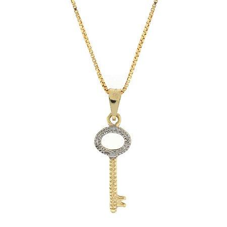 Colar com Pingente de chave com detalhe a ródio folheado a ouro 18K Blivejoias