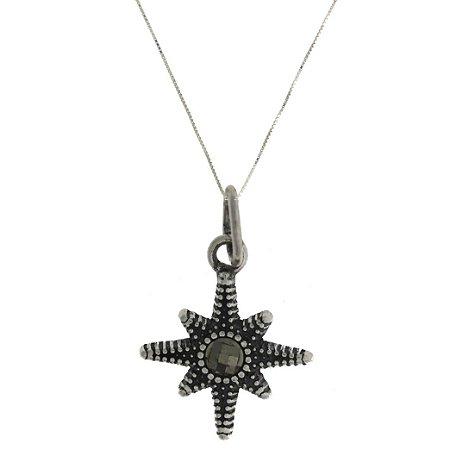 Colar com Pingente de Prata Envelhecida Estrela de Oito Pontas com detalhes Cravejados Blivejoias