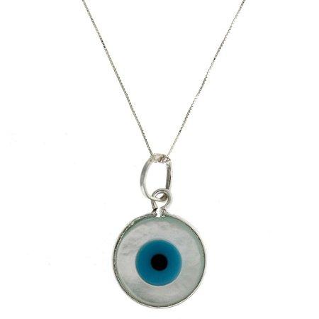 Colar de Prata com Pingente de Olho Grego com Fundo Azulado Blivejoias