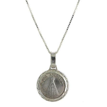 Colar de Prata com Medalha de Nossa Senhora Aparecida Blivejoias