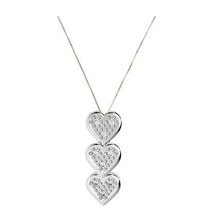 Gargantilha de Prata com 3 Corações Cravejado Blivejoias