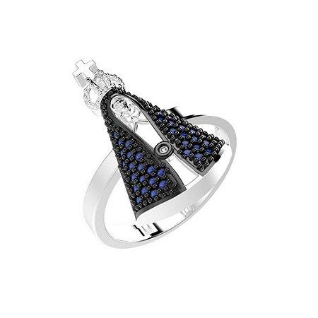 Anel de Prata Nossa Senhora Aparecida Cravejado com Zircônias Azul  Blivejoias