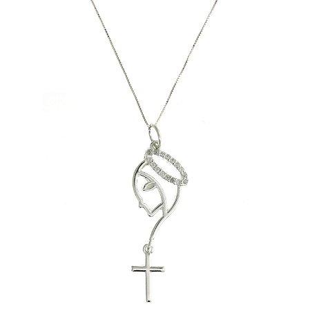 Colar de Prata com Pingente de Nossa Senhora Aparecida com Detalhe de Terço e com Zircônias Brancas Blivejoias