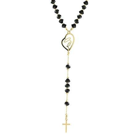 Terço com Pedras Pretas com Nossa Senhora com Detalhe Vazado com uma pequena Cruz Folheado a Ouro 18K Blivejoias