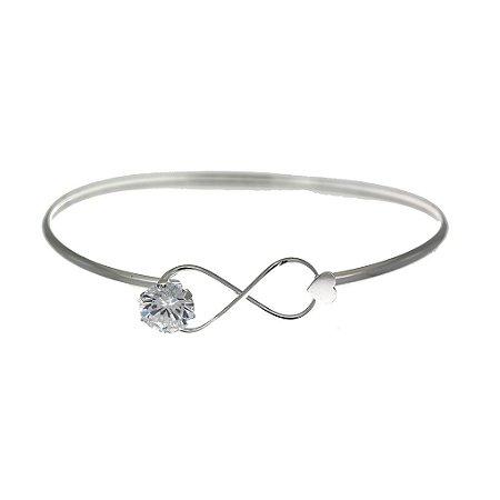 Bracelete de Prata Infinito com Zircônia Branca e com Detalhe de Coração Blivejoias