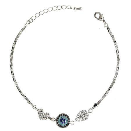 Pulseira de Prata com Coração com Detalhe de Gota com Zircônias Azul e Brancas Blivejoias