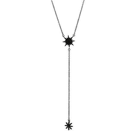 Colar de Ródio Negro Com Estrela de 7 Pontas com Zircônias Pretas Blivejoias