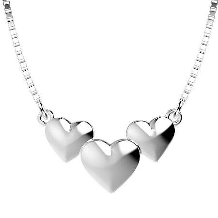 Colar de Prata com 3 Corações com detalhe Liso Blivejoias