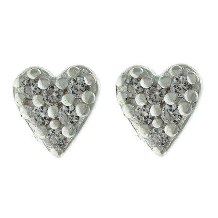 Brinco de Prata Coração com Detalhe Cravejado de Zircônias Brancas Blivejoias