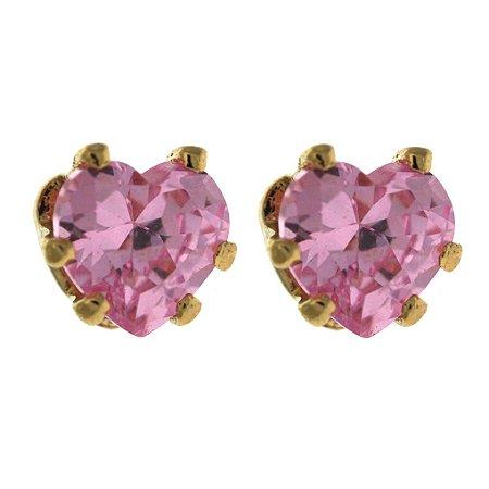 Brinco de Zircônias Rosa com Formato de Coração  Folheado a Ouro 18K Blivejoias