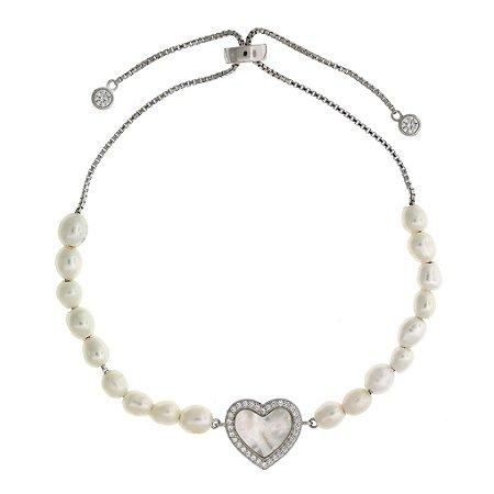 Pulseia de Prata com Coração Madrepérola com detalhe de Pérolas e Zircônias Brancas Blivejoias