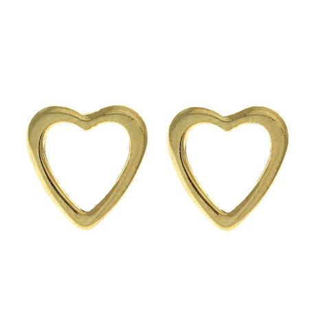 Brinco de Coração Vazado Folheado a Ouro 18K Blivejoias