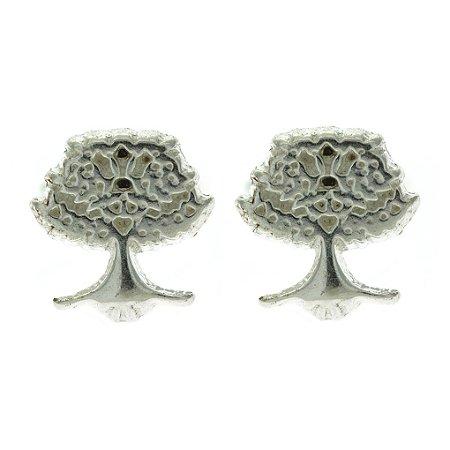 Brinco de Prata Árvore da Vida com Acabamento Feito a Mão Blivejoias