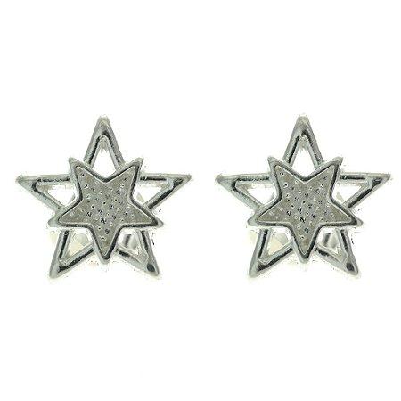 Brinco de Prata com 2 Estrelas com Detalhe Vazado Blivejoias