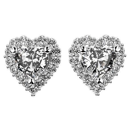 Brinco de Prata Coração Cravejado com Zircônias Brancas com Acabamento Feito a Mão Blivejoias