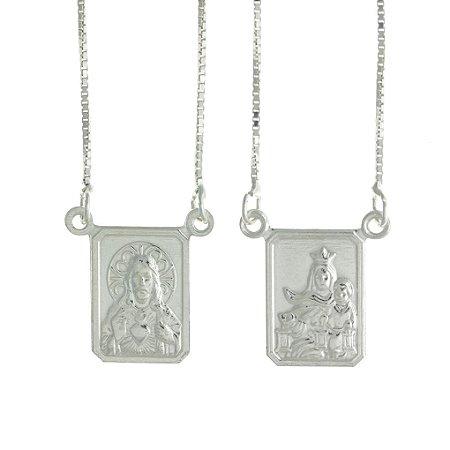 Escapulário de Prata Nossa Senhora do Carmo e Sagrado Coração de jesus com Acabamento Feito a Mão Blivejoias