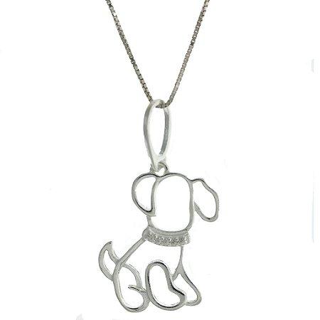 Colar de Prata com Pingente de Cão Cravejado com Zircônia Branca Blivejoias