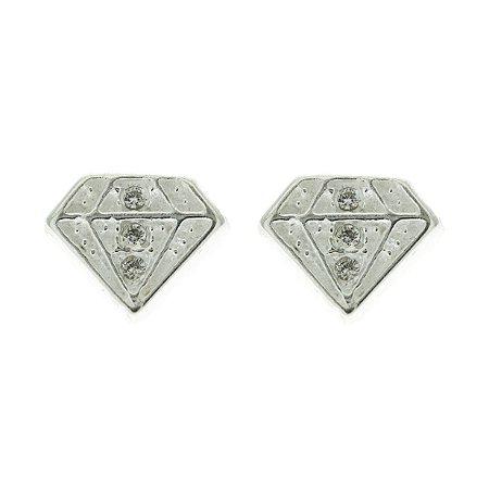 Brinco de Prata Diamante Cravejado com Zircônia Branca Blivejoias