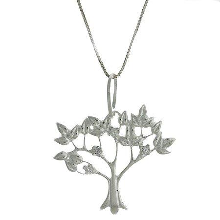 Colar de Prata com Pingente Árvore da Vida Cravejado com Zircônia Branca Blivejoias