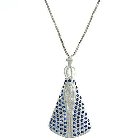 Colar de Prata com Pingente Nossa Senhora Aparecida com Manto de Zircônias Azul Blivejoias