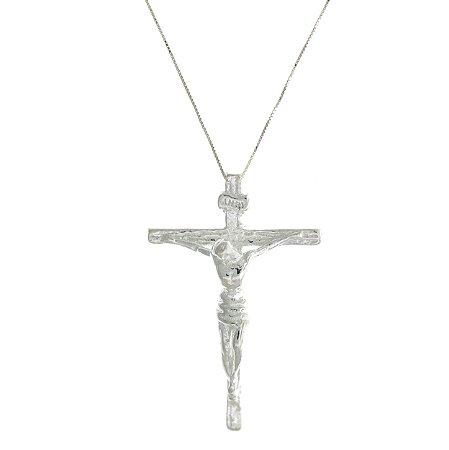Colar com Pingente de Crucifixo de Prata com Acabamento Feito a mão Blivejoias