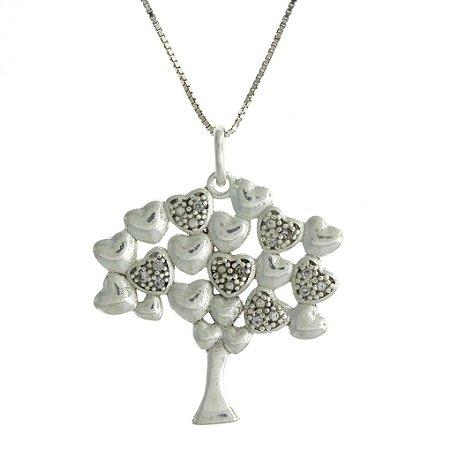 Colar de Prata com Pingente de Árvore da Vida com Detalhe de Coração e Cravejado de Zircônias Brancas Blivejoias