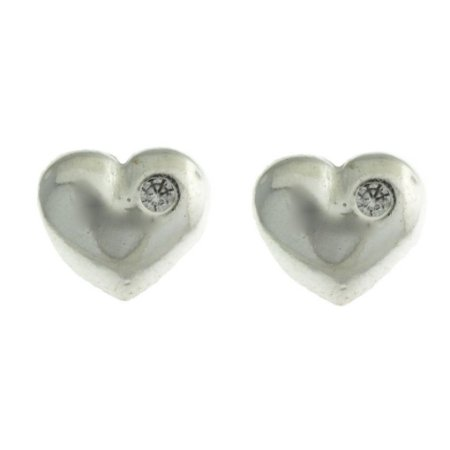 Brinco de Prata Coração com Detalhe Liso e com Pequeno Ponto de Luz Blivejoias