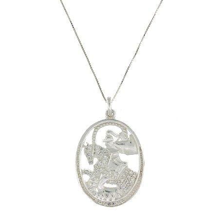 Colar de Prata com Medalha de São Jorge Cravejado com Zircônias Brancas com Detalhe Vazado Blivejoias