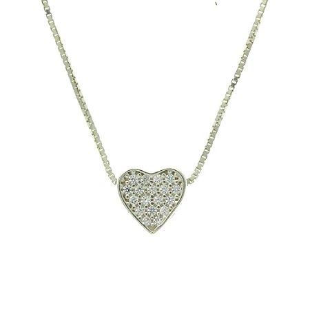 Colar de Prata com Pingente de Coração Cravejado de Zircônias Brancas Blivejoias