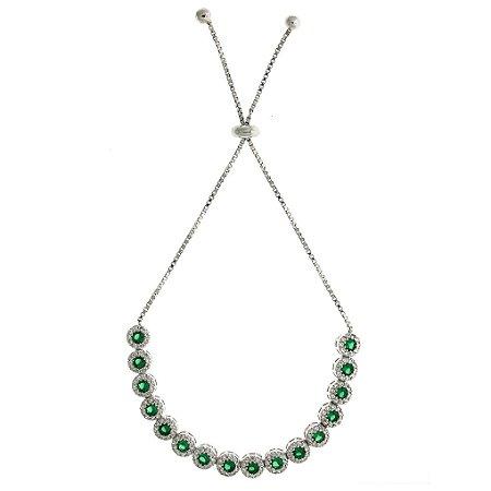 Pulseira de Prata com Banho de Ródio Cravejado de Zircônias Verde Branca Azul e Rosa Blivejoias