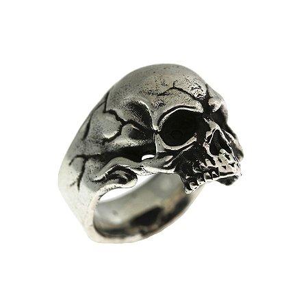 Anel de Prata Caveira Testuda com Detalhes Marcados e Acabamento Feito a Mão Blivejoias