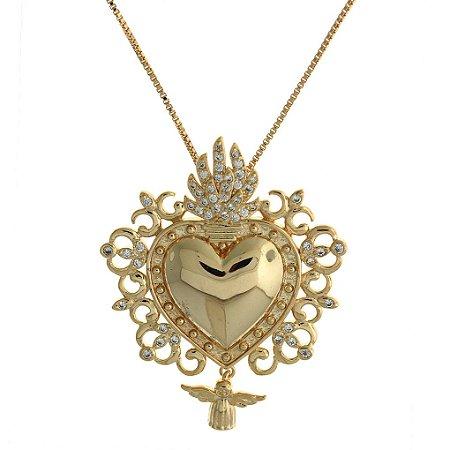 Colar com Pingente  de Coração Trabalhado com Zircônias Brancas e Detalhes em Desenho Folheado a Ouro 18K Blivejoias
