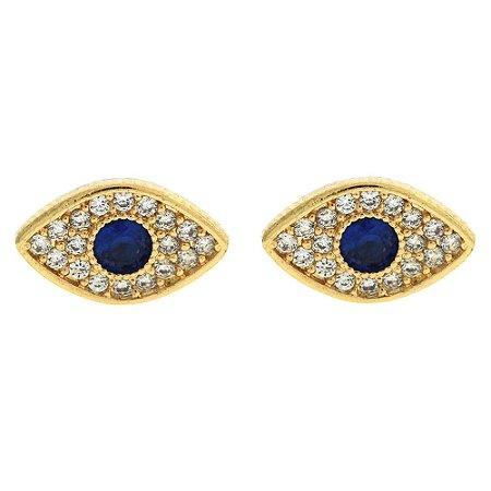 Brinco Olho Grego Cravejado de Zircônias Brancas e Azul Folheado a Ouro 18K Blivejoias