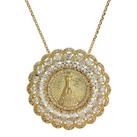 Colar de Prata com Medalha de Nossa Senhora da Conceição Aparecida Cravejado  com Zircônias Brancas Folheado d950a06642