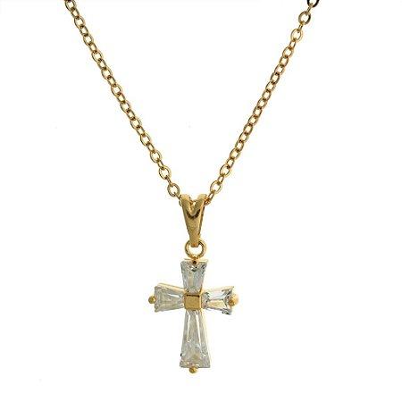 Colar com Pingente de Cruz Cravejado de Cristal Folheado a Ouro 18K Blivejoias