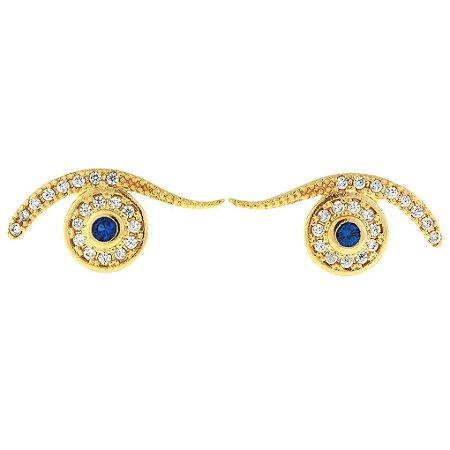 Brinco de Olho Grego Cravejado com Zircônias Brancas e Azul Folheado a Ouro 18K Blivejoias