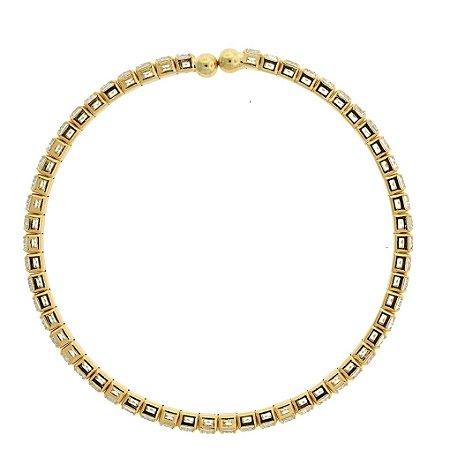 Bracelete Cravejado com Zircônias Brancas Folheado a Ouro 18K Blivejoias