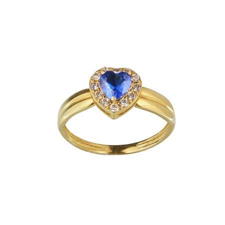 Anel em Ouro Amarelo 18k aro liso riscado topo de coração com zircônias brancas e azul PC5.91