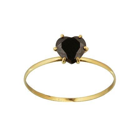Anel em Ouro Amarelo 18k com pedra de zircônia preta PC1.76