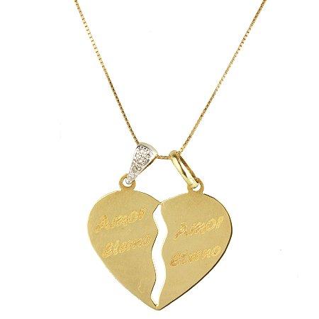 Pingente em ouro amarelo 18k  grande dois em um liso escrita 'amor eterno' parte argola simples parte argola toda cravejada de brilhante PC 5.59
