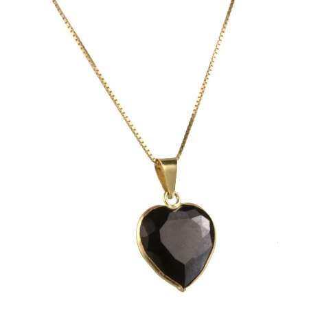 Pingente ponto de luz coração em ouro amarelo 18k liso grande zircônia preta tamanho: 10mm PC 1.08