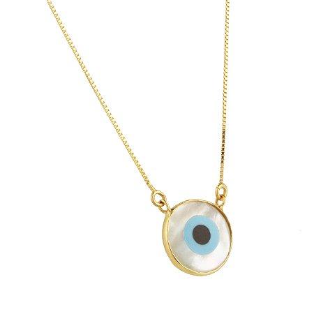 Gargantilha olho grego em ouro amarelo 18k redondo lisa frente pingente esmaltada sem pedra PC 4.74