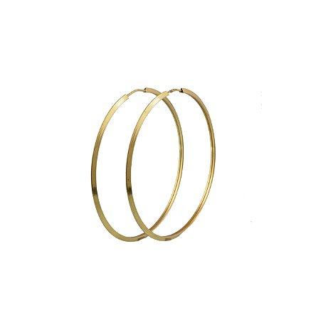Brinco em ouro amarelo 18k  argola grande lisa redonda fio fino lâminado sem pedra PC 2.86