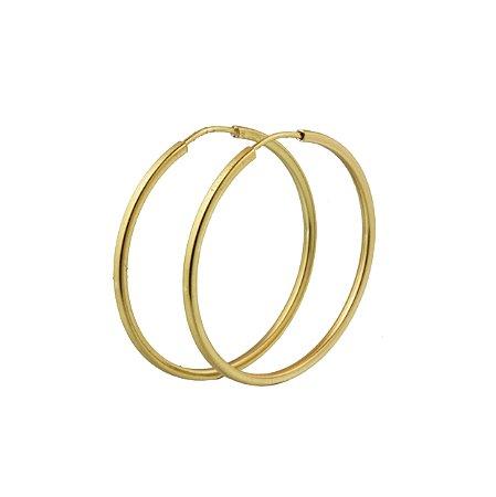 Brinco em ouro amarelo 18k argola grande lisa redonda fio fino quadrado sem pedra PC 3.62