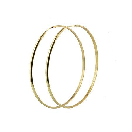 Brinco em em ouro amarelo 18k argola extra grande lisa redonda fio fino meia cana sem pedra PC 5.61