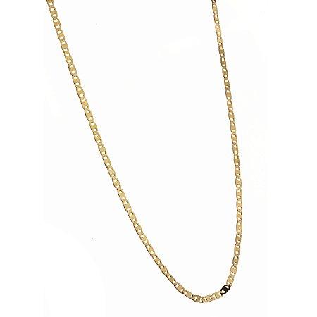 Corrente em ouro amarelo 18k piastrine, maciça de 50cm. Peso 1,9g.