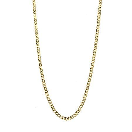 Corrente em ouro amarelo 18k groumet, oca de 60cm. Peso 4,8g.